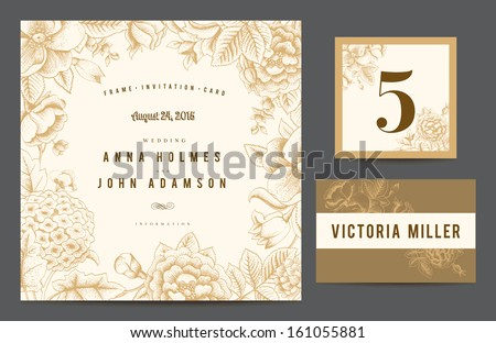 Set backgrounds to celebrate the wedding. Invitation card, table number, guest card. Vector illustration.  Flowers roses, dog-rose hydrangea in beige color.  - stock vector