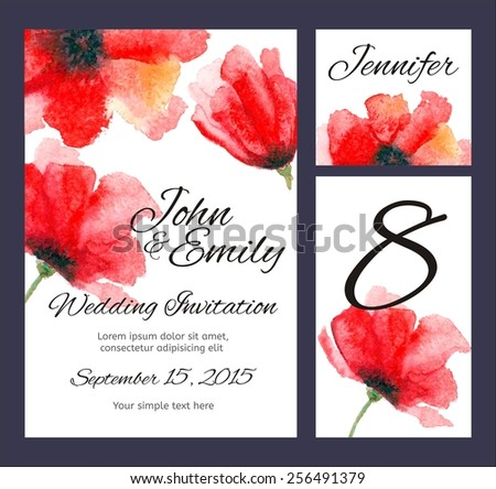 Set backgrounds to celebrate the wedding with watercolor poppies. Wedding invitation, table number, guest card. Red flowers - stock vector