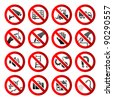Set ban icons Prohibited symbols Industrial hazard signs Vector - stock vector
