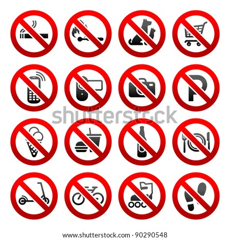 Set ban icons Prohibited symbols Shop signs Design element - stock vector