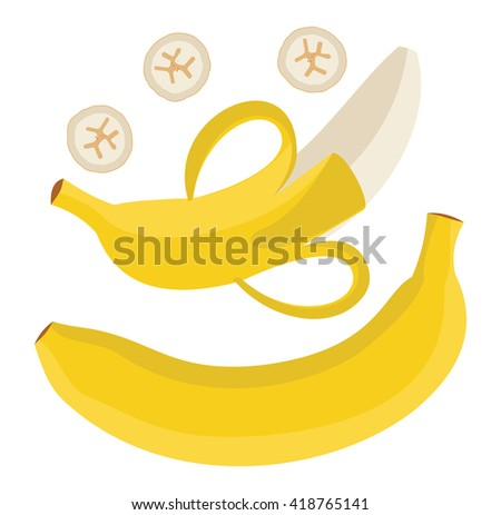 Set bananas. Single banana. Peeled banana and sliced banana. Vector illustration.