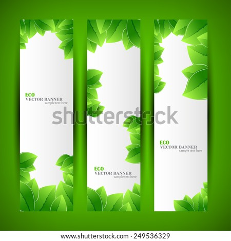 Set banner ecology illustration, colorful digital composition - stock vector