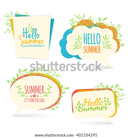 Set banner, logo, sticker, bubble with Hello summer. Bubble with Hello summer decoration with plants, flowers. Summer nature decor. Collection talk bubble summer banner. Vector.