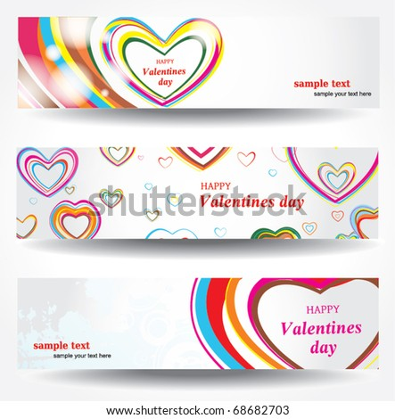 Set banners for Valentine's day - stock vector