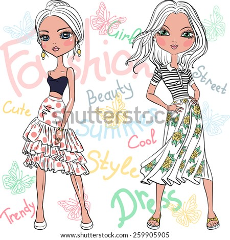 set beautiful fashion girls top model in summer dresses - stock vector