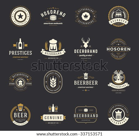Set Beer Logos, Badges and Labels Vintage Style. Design elements retro vector illustration. - stock vector