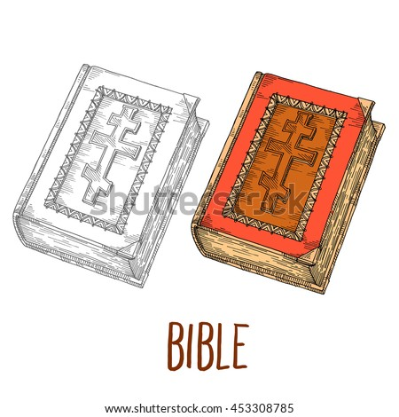 set bible, isolated Ancient India in sketch engraving style religious literature - the Bible with a cross on the cover - stock vector