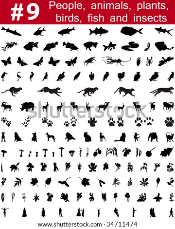 Set # 9. Big collection of collage vector silhouettes of people, animals, birds, fish, flowers and insects