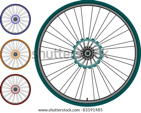 set Bike wheel - vector illustration isolated on white background - stock vector