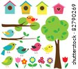Set birds with birdhouses, trees and flowers. - stock photo