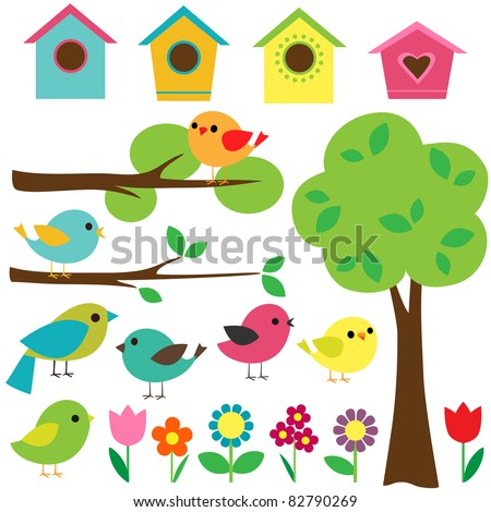Set birds with birdhouses, trees and flowers. - stock vector