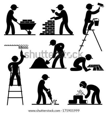 set black and white vector icons of builders - stock vector