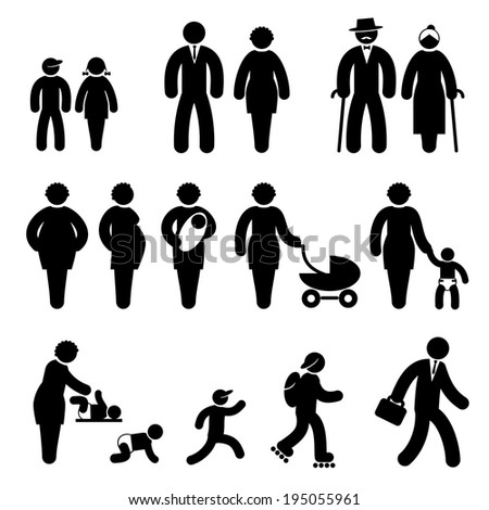 set black and white vector icons of people age - stock vector