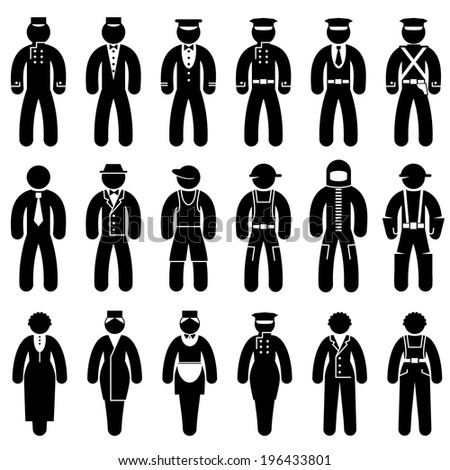 set black and white vector icons of people in uniforms