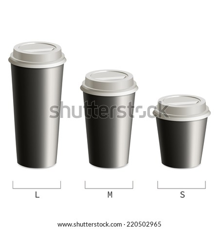 Set black cups of coffee in three sizes.  Isolated on white background. - stock vector