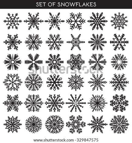 Set 36 black different snowflakes of handwork for design. New Year's symbols. Snowflakes for design. Winter objects. Festive elements. Snowflake Doodle. Snowflake Sketch - stock vector