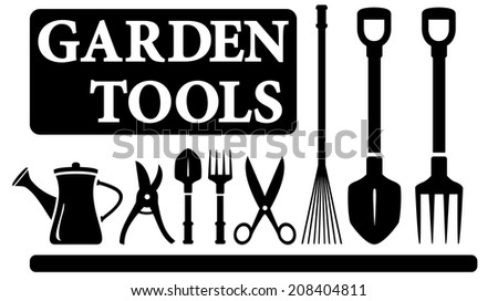 set black isolated gardening tools for landscaping design - stock vector