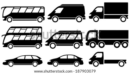 set black isolated transport icons for cargo or passenger services - stock vector