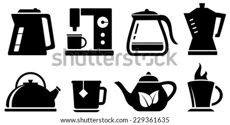 set black kettle icon for coffee and tea appliances - stock vector