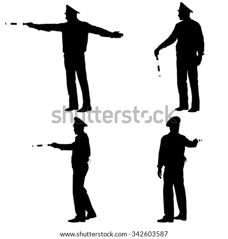 Set Black Silhouettes Police Officer Rod Stock Vector ...
