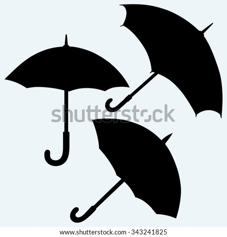 Set black umbrella. Isolated on blue background. Vector silhouettes - stock vector