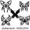 Set  black white butterflies of a tattoo - stock vector