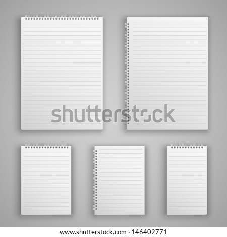 Set blank realistic spiral notepad notebook isolated on white vector - stock vector