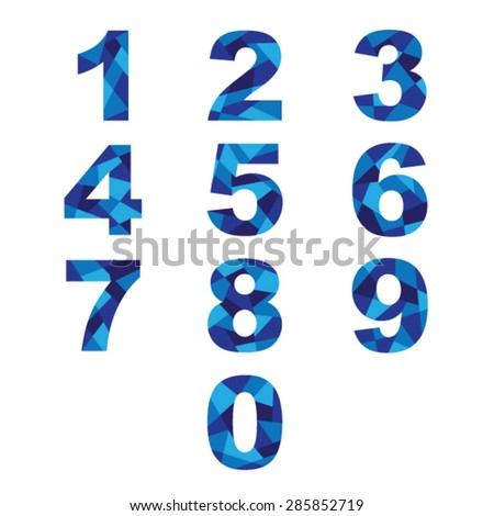Set  blue abstract numbers. - stock vector