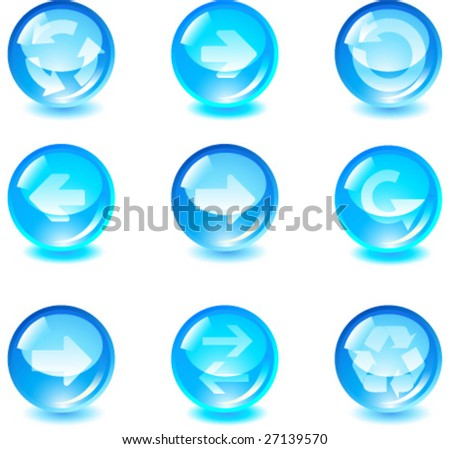 set blue glass vector button with arrows