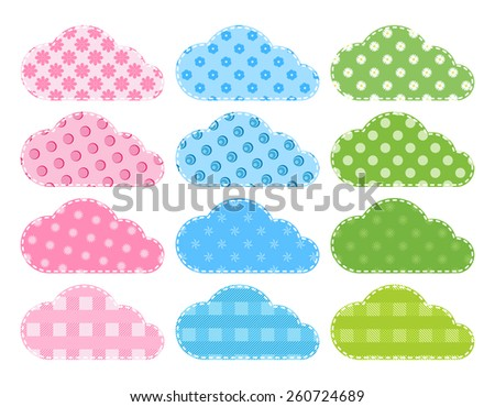set  blue, green, vector clouds of fabric with different backgrounds and with a line from the sewing thread on the contour  - stock vector
