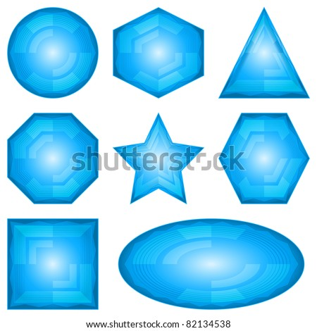 Set blue vector eps10 icons, computer buttons different forms