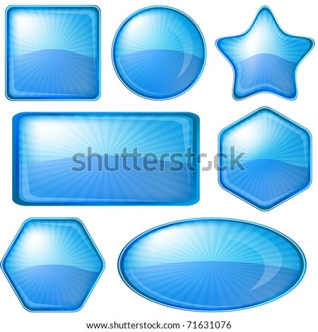 Set blue vector icons, buttons different forms - stock vector
