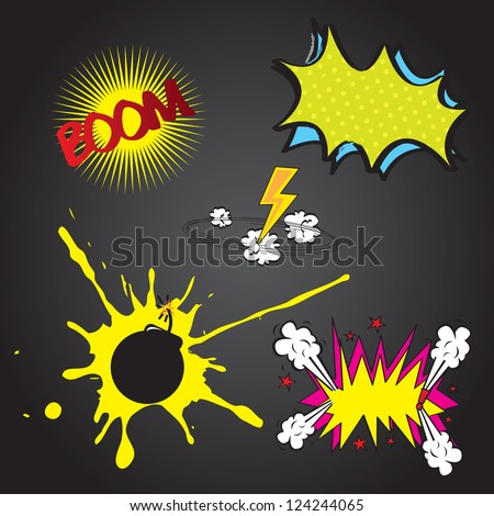 Set boom comic over black background vector illustration - stock vector