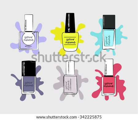 Set bottles of nail polish in various colors. Manicure and pedicure design. Modern girl accessories. Glamour fingernails. Trendy bright colors. Women collection.  Place for your name. - stock vector