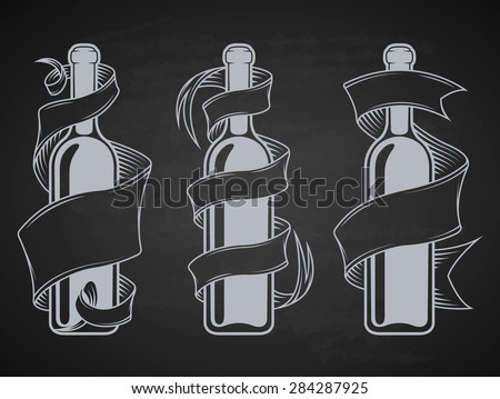 Set bottles with ribbon and place for text. - stock vector