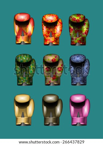 set boxing gloves Gold, pink, military, Russian national ornament, khokhloma, bronze, flame. Vector illustration. Eps 10 - stock vector