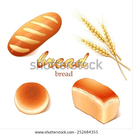 Set breads, bakery products - realistic vector images