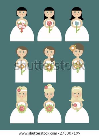 set bride in flat. Wedding Card Invitation  in Vector - stock vector