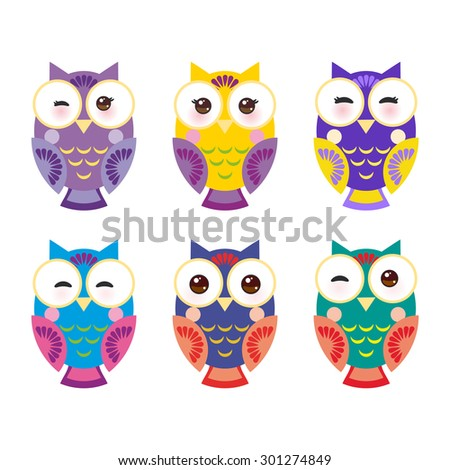 set bright colorful owls on white background. Vector - stock vector