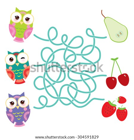 set bright colorful owls with pear cherry strawberry on white background. labyrinth game for Preschool Children. Vector - stock vector