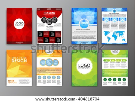 Set Brochure Templates Flyers Front Back Stock Photo Photo Vector