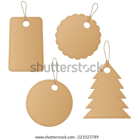 Set brown price tags different form on white background