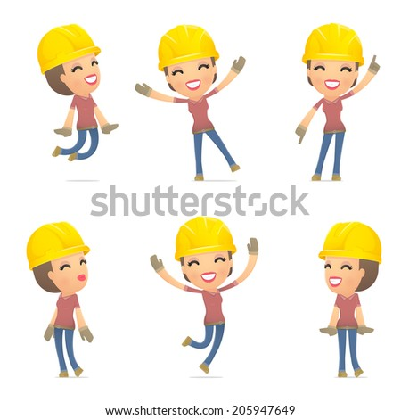 set builder girl of character in different interactive  poses - stock vector