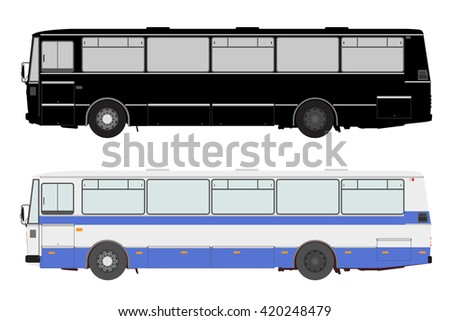 Set bus on a white background. - stock vector