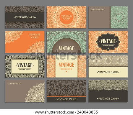 Set business card. Vintage decorative elements. Hand drawn background. Islam, Arabic, Indian, ottoman motifs.  - stock vector