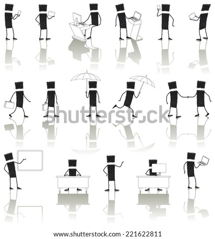 Set: business people working. Illustration of business people in different situations: working with computer, talking on the phone, speaking in public, coming to terms � EPS8 file - stock vector