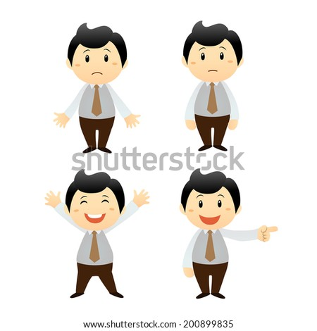 set businessman cartoon character - stock vector