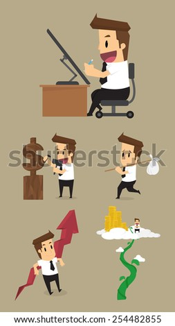 Set,Businessman Character.vector - stock vector