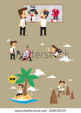 Set,Businessman Character. vector - stock vector