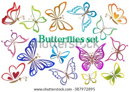 Set Butterflies Pictograms, Colorful Contours Isolated on White Background. Vector - stock vector